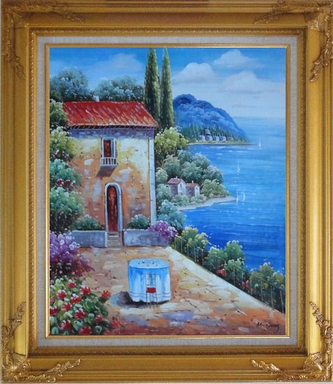 Framed Fresh Sunday Morning of Mediterranean Sesascape Oil Painting Naturalism Gold Wood Frame with Deco Corners 31 x 27 Inches