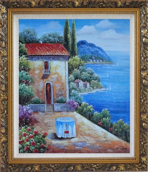 Framed Fresh Sunday Morning of Mediterranean Sesascape Oil Painting Naturalism Ornate Antique Dark Gold Wood Frame 30 x 26 Inches