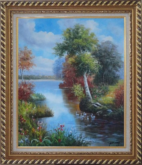 Framed Ducks Playing in a Beautiful Lake Oil Painting Landscape River Animal Bird Naturalism Exquisite Gold Wood Frame 30 x 26 Inches