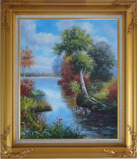 Framed Ducks Playing in a Beautiful Lake Oil Painting Landscape River Animal Bird Naturalism Gold Wood Frame with Deco Corners 31 x 27 Inches