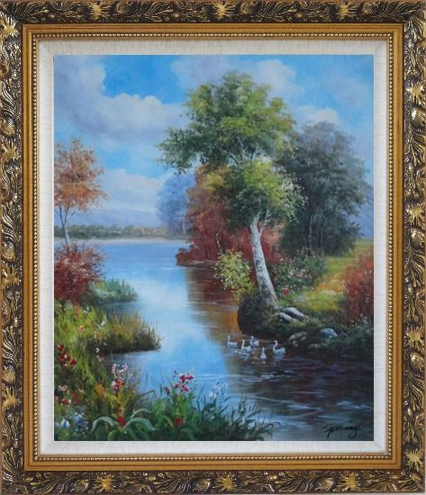 Framed Ducks Playing in a Beautiful Lake Oil Painting Landscape River Animal Bird Naturalism Ornate Antique Dark Gold Wood Frame 30 x 26 Inches