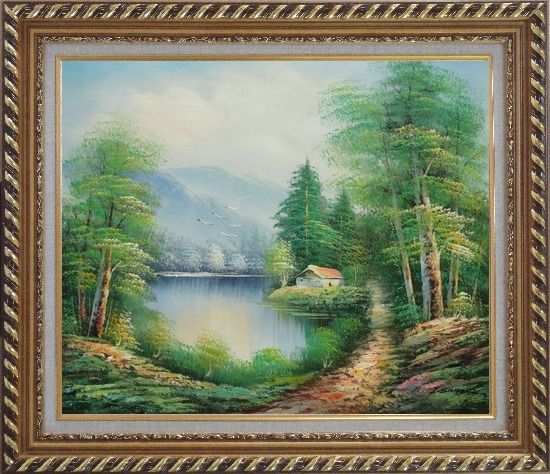 Framed Quiet Lake Scenery in Eary Spring Oil Painting Landscape River Naturalism Exquisite Gold Wood Frame 26 x 30 Inches