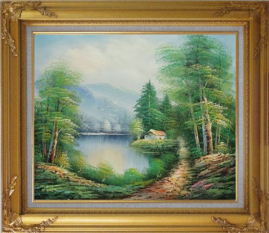 Framed Quiet Lake Scenery in Eary Spring Oil Painting Landscape River Naturalism Gold Wood Frame with Deco Corners 27 x 31 Inches