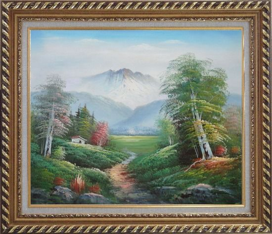 Framed To the Mountain Oil Painting Landscape Naturalism Exquisite Gold Wood Frame 26 x 30 Inches