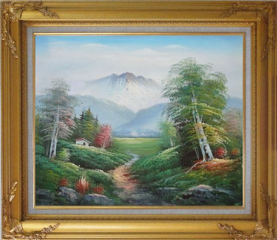 Framed To the Mountain Oil Painting Landscape Naturalism Gold Wood Frame with Deco Corners 27 x 31 Inches
