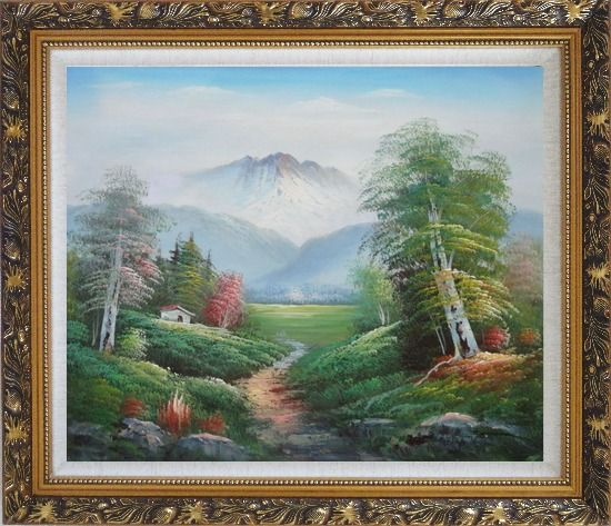 Framed To the Mountain Oil Painting Landscape Naturalism Ornate Antique Dark Gold Wood Frame 26 x 30 Inches