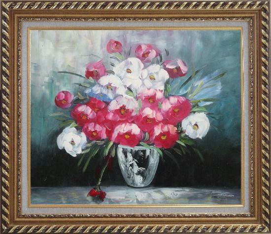 Framed Still Life Poppy Flowers Oil Painting Bouquet Impressionism Exquisite Gold Wood Frame 26 x 30 Inches