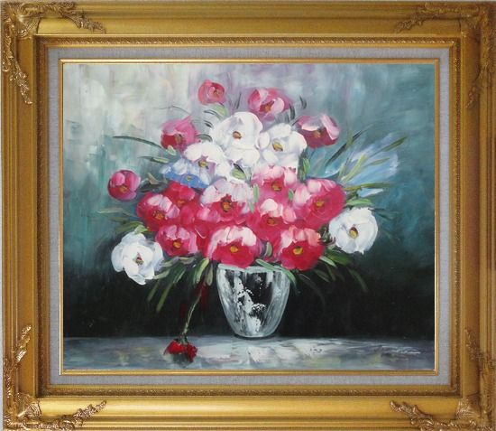 Framed Still Life Poppy Flowers Oil Painting Bouquet Impressionism Gold Wood Frame with Deco Corners 27 x 31 Inches