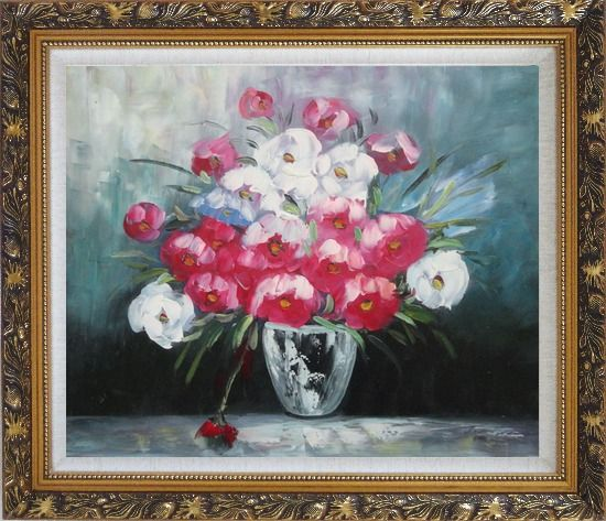 Framed Still Life Poppy Flowers Oil Painting Bouquet Impressionism Ornate Antique Dark Gold Wood Frame 26 x 30 Inches