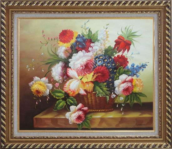 Framed Colorful Flowers in Basket Oil Painting Still Life Bouquet Classic Exquisite Gold Wood Frame 26 x 30 Inches