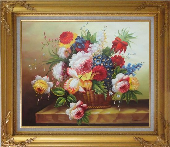 Framed Colorful Flowers in Basket Oil Painting Still Life Bouquet Classic Gold Wood Frame with Deco Corners 27 x 31 Inches
