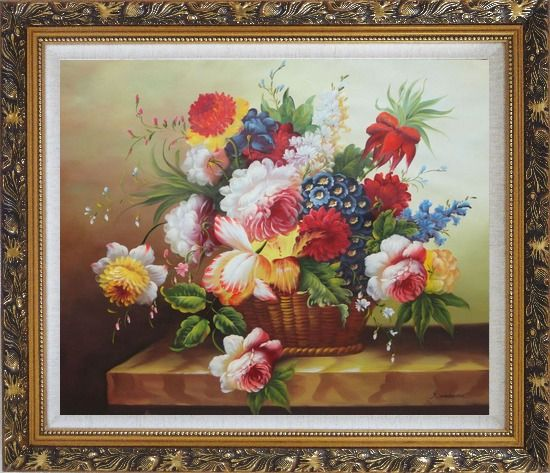 Framed Colorful Flowers in Basket Oil Painting Still Life Bouquet Classic Ornate Antique Dark Gold Wood Frame 26 x 30 Inches