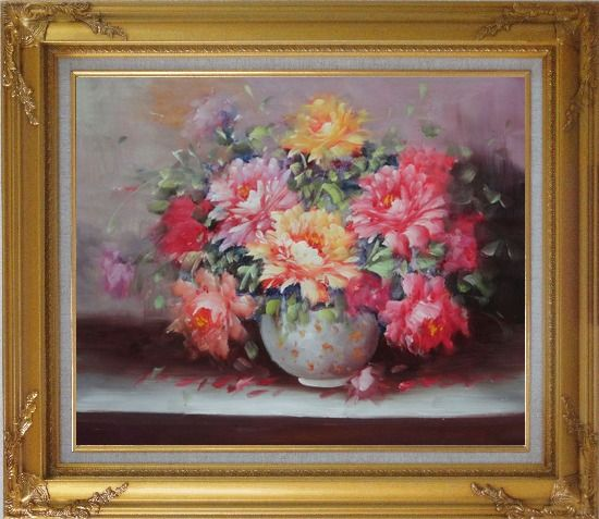 Framed Large Red, Yellow, Pink Peonies in a White Ceramic Vase Oil Painting Flower Still Life Bouquet Classic Gold Wood Frame with Deco Corners 27 x 31 Inches