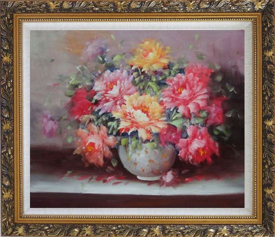 Framed Large Red, Yellow, Pink Peonies in a White Ceramic Vase Oil Painting Flower Still Life Bouquet Classic Ornate Antique Dark Gold Wood Frame 26 x 30 Inches