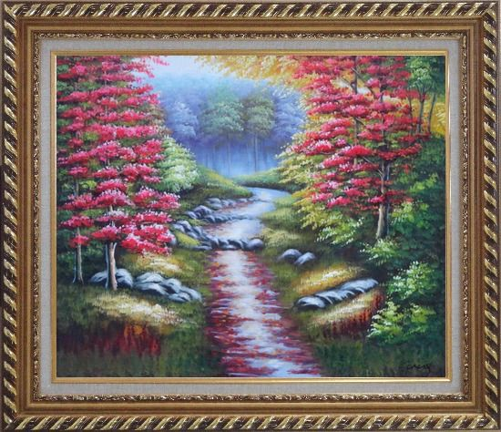 Framed Trail in Beautiful Autumn Red and Yellow Forest Oil Painting Landscape Field Naturalism Exquisite Gold Wood Frame 26 x 30 Inches