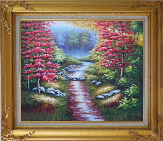 Framed Trail in Beautiful Autumn Red and Yellow Forest Oil Painting Landscape Field Naturalism Gold Wood Frame with Deco Corners 27 x 31 Inches