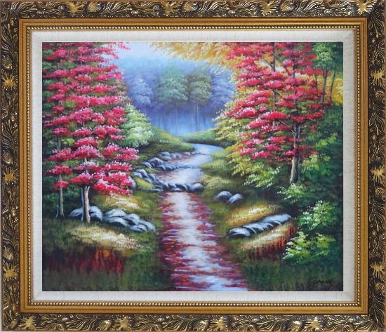Framed Trail in Beautiful Autumn Red and Yellow Forest Oil Painting Landscape Field Naturalism Ornate Antique Dark Gold Wood Frame 26 x 30 Inches