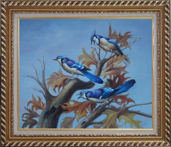 Framed Three Blue Jays Singing Happily in Spring Oil Painting Animal Bird Naturalism Exquisite Gold Wood Frame 26 x 30 Inches