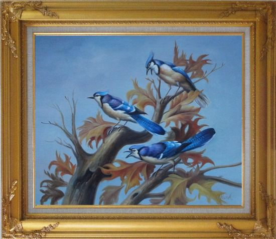 Framed Three Blue Jays Singing Happily in Spring Oil Painting Animal Bird Naturalism Gold Wood Frame with Deco Corners 27 x 31 Inches