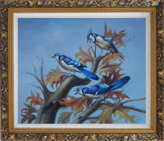 Framed Three Blue Jays Singing Happily in Spring Oil Painting Animal Bird Naturalism Ornate Antique Dark Gold Wood Frame 26 x 30 Inches