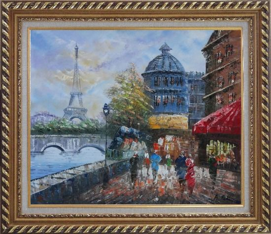 Framed People Walk on Seine Riverside with Eiffel Tower in View Oil Painting Cityscape France Impressionism Exquisite Gold Wood Frame 26 x 30 Inches