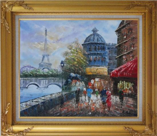 Framed People Walk on Seine Riverside with Eiffel Tower in View Oil Painting Cityscape France Impressionism Gold Wood Frame with Deco Corners 27 x 31 Inches