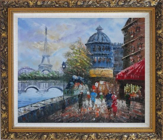 Framed People Walk on Seine Riverside with Eiffel Tower in View Oil Painting Cityscape France Impressionism Ornate Antique Dark Gold Wood Frame 26 x 30 Inches