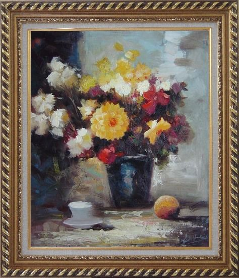 Framed Afternoon Break with Roses and Daisies Flowers Oil Painting Still Life Bouquet Impressionism Exquisite Gold Wood Frame 30 x 26 Inches