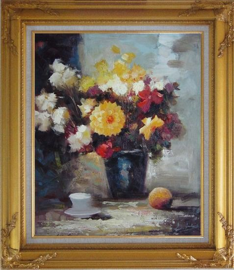Framed Afternoon Break with Roses and Daisies Flowers Oil Painting Still Life Bouquet Impressionism Gold Wood Frame with Deco Corners 31 x 27 Inches