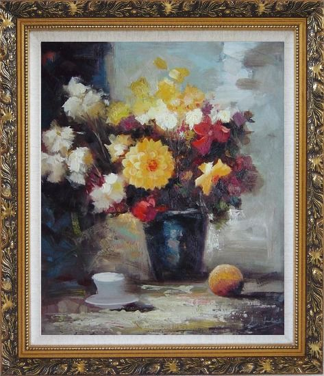 Framed Afternoon Break with Roses and Daisies Flowers Oil Painting Still Life Bouquet Impressionism Ornate Antique Dark Gold Wood Frame 30 x 26 Inches