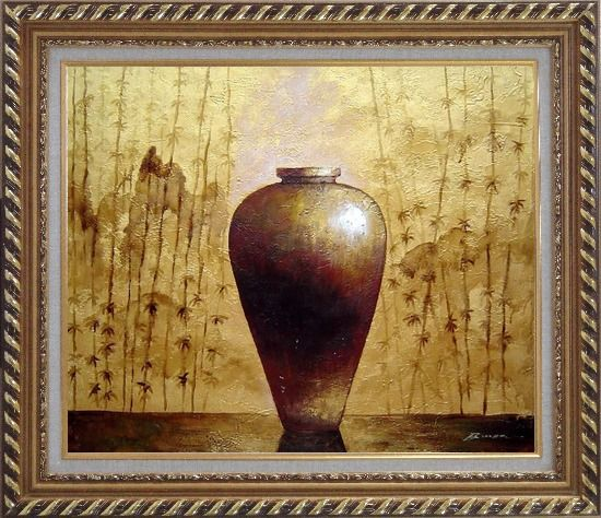 Framed Gold Earthen Jar Oil Painting Still Life Asian Exquisite Gold Wood Frame 26 x 30 Inches