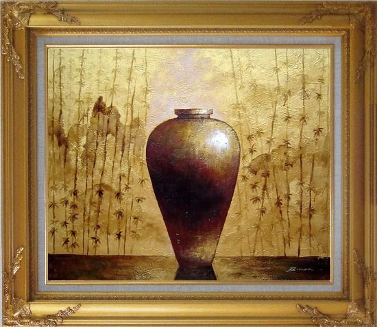 Framed Gold Earthen Jar Oil Painting Still Life Asian Gold Wood Frame with Deco Corners 27 x 31 Inches