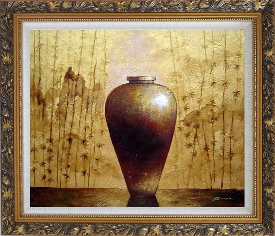Framed Gold Earthen Jar Oil Painting Still Life Asian Ornate Antique Dark Gold Wood Frame 26 x 30 Inches