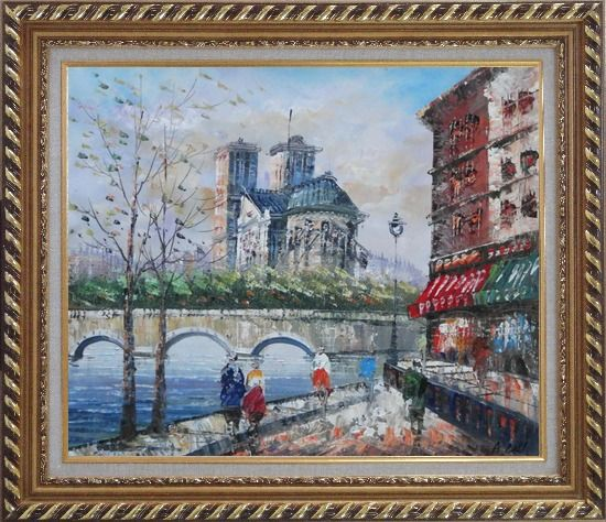 Framed Seine River Walk Near Notre Dame Cathedral Oil Painting Cityscape France Impressionism Exquisite Gold Wood Frame 26 x 30 Inches