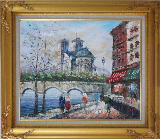 Framed Seine River Walk Near Notre Dame Cathedral Oil Painting Cityscape France Impressionism Gold Wood Frame with Deco Corners 27 x 31 Inches