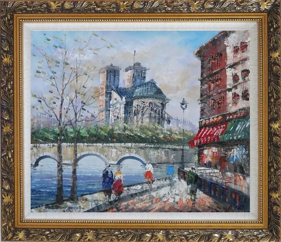 Framed Seine River Walk Near Notre Dame Cathedral Oil Painting Cityscape France Impressionism Ornate Antique Dark Gold Wood Frame 26 x 30 Inches