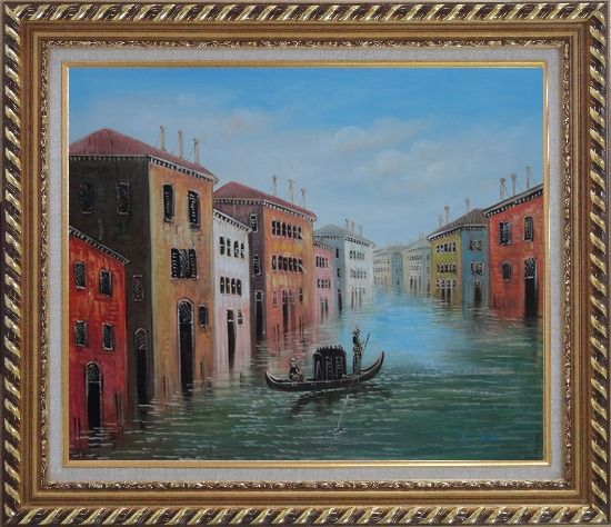 Framed Enjoy Gondola On Quite Venice Water Street Oil Painting Italy Impressionism Exquisite Gold Wood Frame 26 x 30 Inches