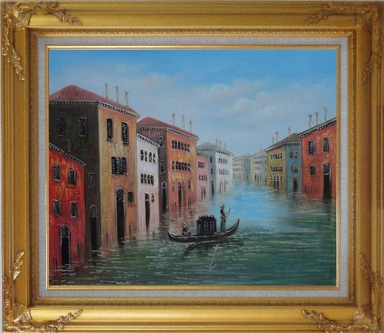 Framed Enjoy Gondola On Quite Venice Water Street Oil Painting Italy Impressionism Gold Wood Frame with Deco Corners 27 x 31 Inches