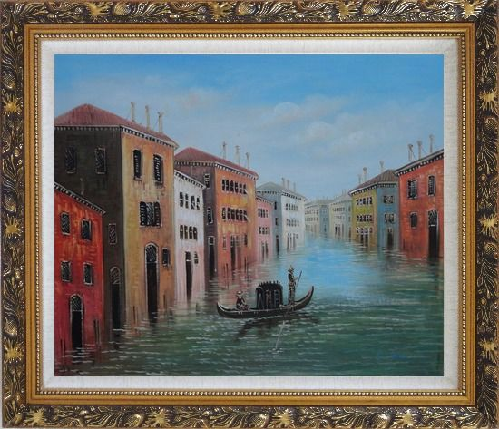 Framed Enjoy Gondola On Quite Venice Water Street Oil Painting Italy Impressionism Ornate Antique Dark Gold Wood Frame 26 x 30 Inches