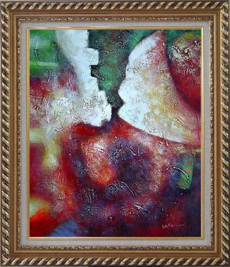 Framed Green, Red and Purple Abstract Oil Painting Nonobjective Modern Exquisite Gold Wood Frame 30 x 26 Inches