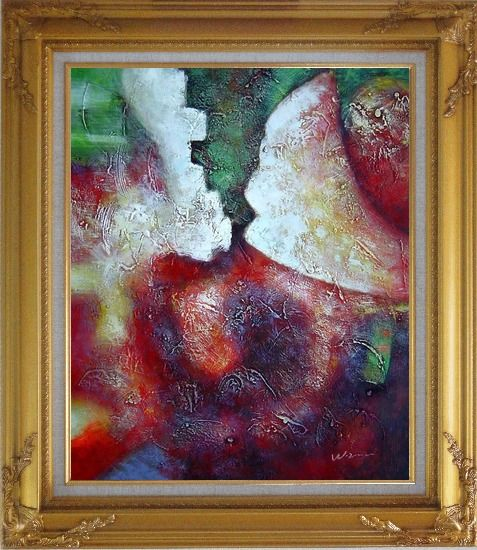 Framed Green, Red and Purple Abstract Oil Painting Nonobjective Modern Gold Wood Frame with Deco Corners 31 x 27 Inches