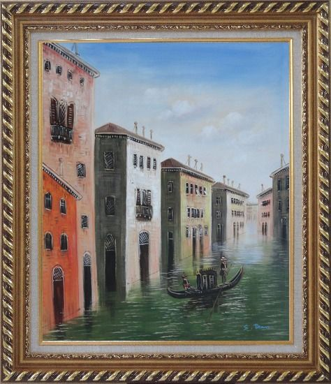 Framed Memorable Gondola Ride in Venice Italy Oil Painting Impressionism Exquisite Gold Wood Frame 30 x 26 Inches