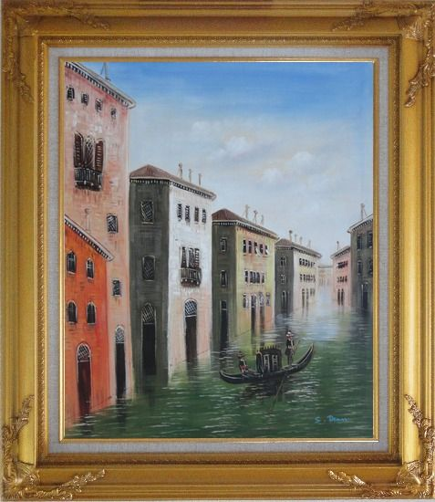 Framed Memorable Gondola Ride in Venice Italy Oil Painting Impressionism Gold Wood Frame with Deco Corners 31 x 27 Inches