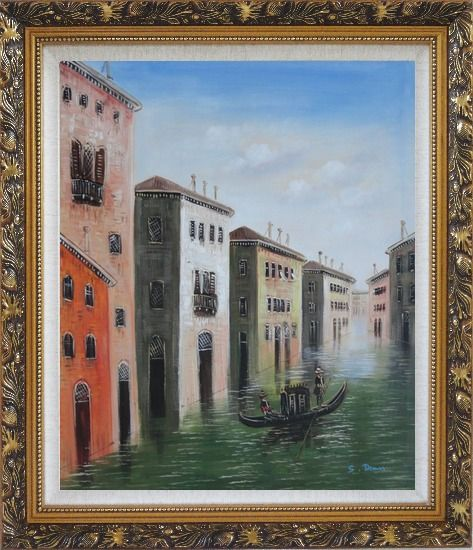 Framed Memorable Gondola Ride in Venice Italy Oil Painting Impressionism Ornate Antique Dark Gold Wood Frame 30 x 26 Inches