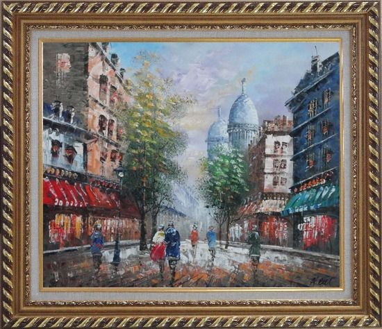 Framed Visitors Strolling on Paris Street Oil Painting Cityscape France Impressionism Exquisite Gold Wood Frame 26 x 30 Inches