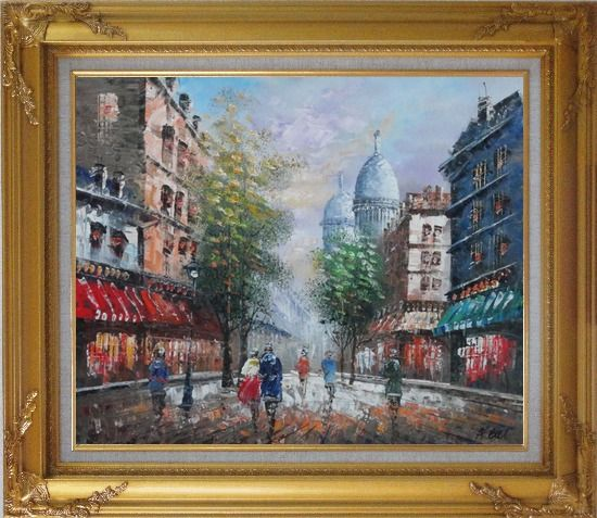 Framed Visitors Strolling on Paris Street Oil Painting Cityscape France Impressionism Gold Wood Frame with Deco Corners 27 x 31 Inches