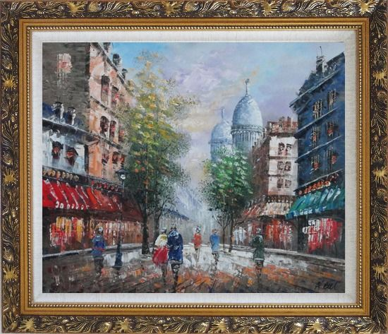Framed Visitors Strolling on Paris Street Oil Painting Cityscape France Impressionism Ornate Antique Dark Gold Wood Frame 26 x 30 Inches
