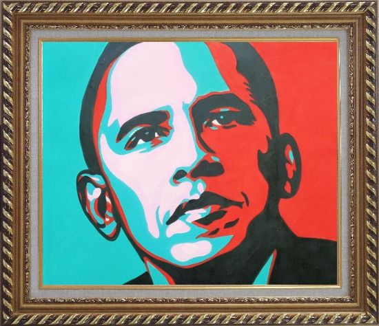 Framed President Barack Obama Oil Painting Portraits Celebrity America Politician Pop Art Exquisite Gold Wood Frame 26 x 30 Inches