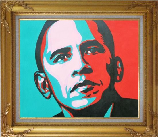 Framed President Barack Obama Oil Painting Portraits Celebrity America Politician Pop Art Gold Wood Frame with Deco Corners 27 x 31 Inches