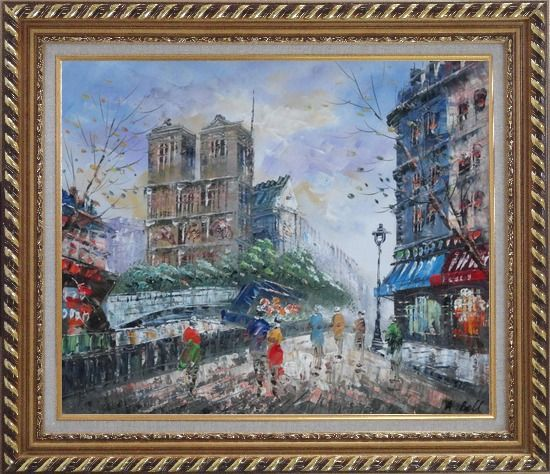 Framed Street Walking Near Notre Dame de Paris Oil Painting Cityscape France Impressionism Exquisite Gold Wood Frame 26 x 30 Inches